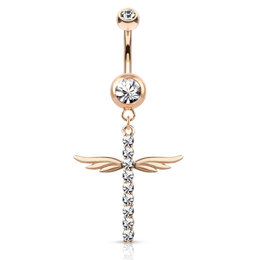 Winging It Cross Belly Dangle in Rose Gold - Dangling Belly Ring. Navel Rings Australia.