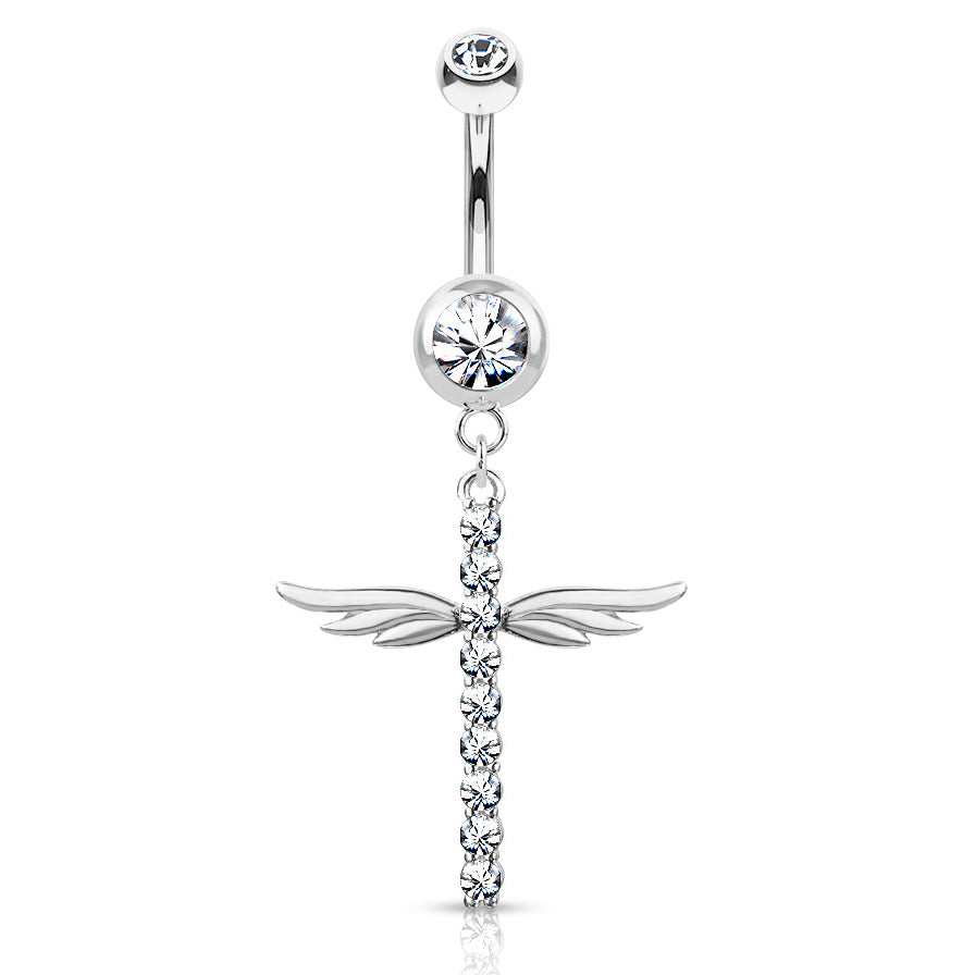 Winging It Cross Belly Dangle - Dangling Belly Ring. Navel Rings Australia.