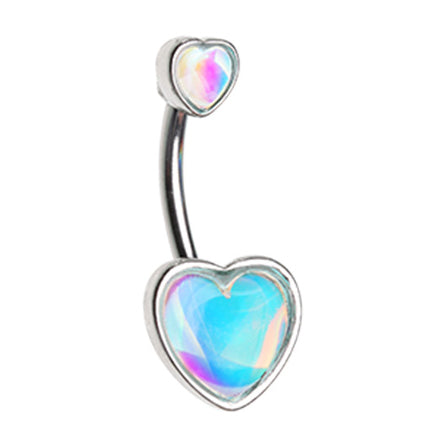Fixed (non-dangle) Belly Bar. Belly Bars Australia. Retro Frontal Hearts Belly Bar