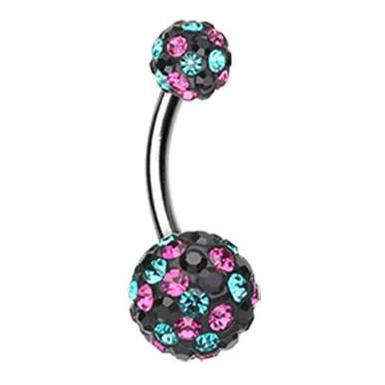 Basic Curved Barbell. Cute Belly Rings. Motley's Retro by Night Navel Jewellery
