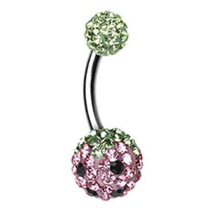 Motleys™ Sweet Strawberry Belly Bar - Basic Curved Barbell. Navel Rings Australia.