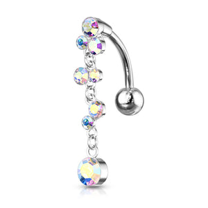 Climbing Wisteria Reverse Belly Piercing - Reverse Top Down Belly Ring. Navel Rings Australia.