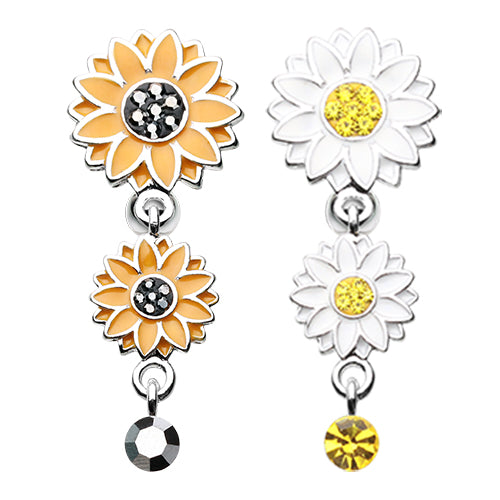 Beach Sunflower Reverse Belly Button Bar - Reverse Top Down Belly Ring. Navel Rings Australia.