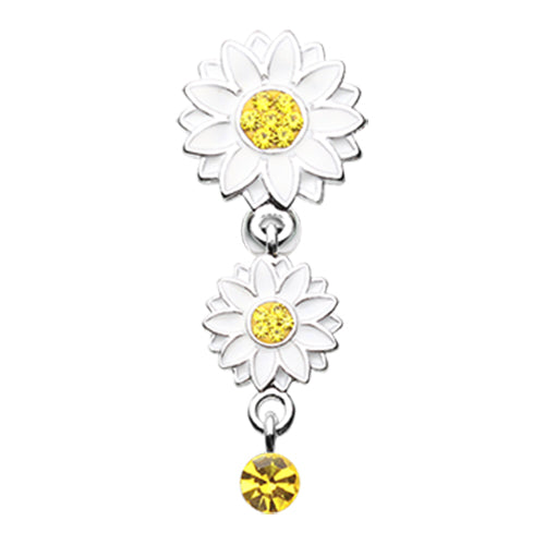 Reverse Top Down Belly Ring. Quality Belly Bars. Beach Sunflower Reverse Belly Button Bar