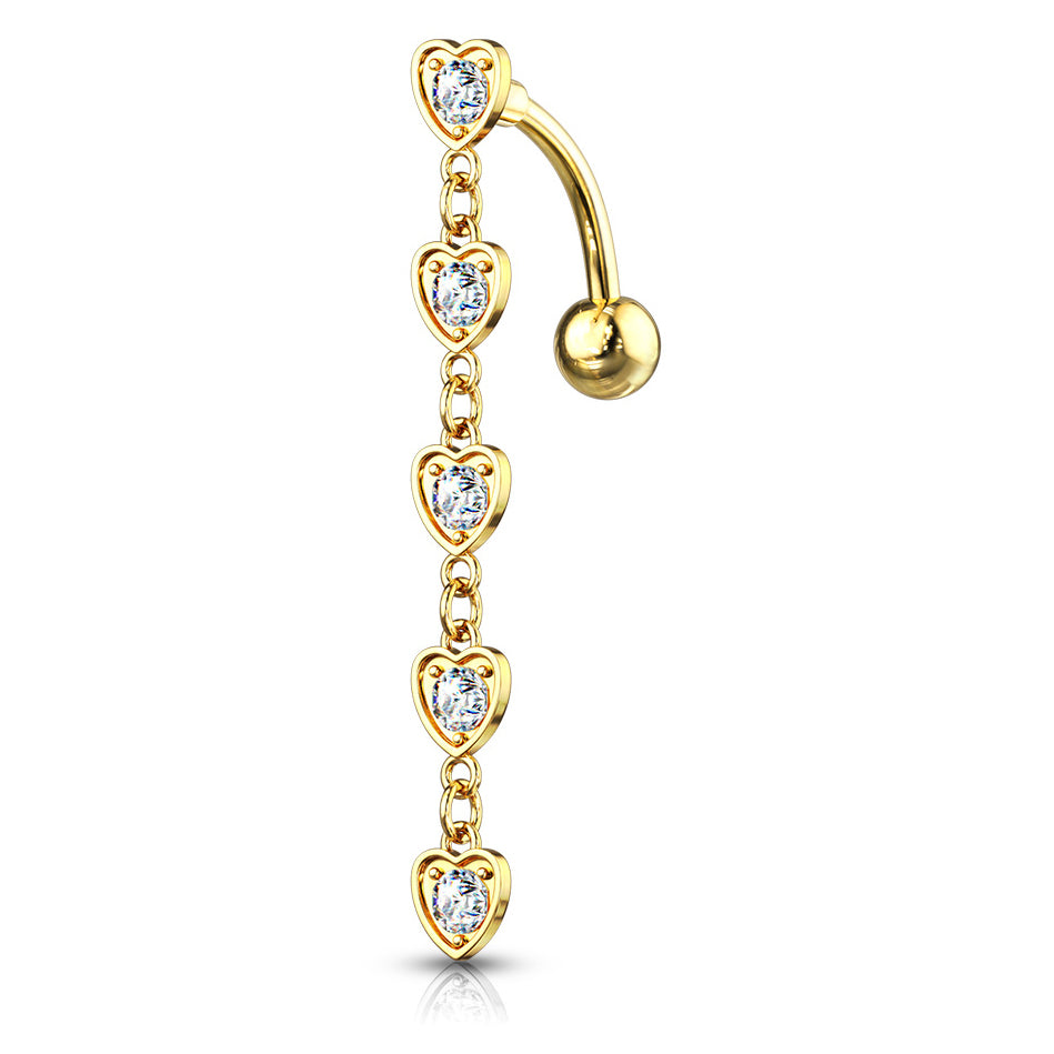 Chain of Hearts Reverse Belly Bar in Gold - Reverse Top Down Belly Ring. Navel Rings Australia.