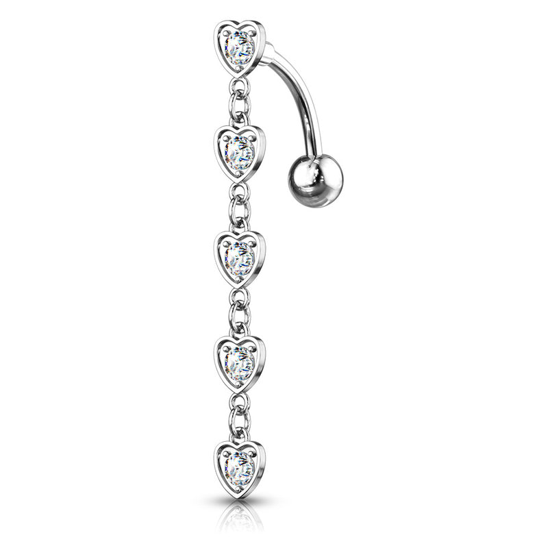 Chain of Hearts Reverse Belly Bar - Reverse Top Down Belly Ring. Navel Rings Australia.