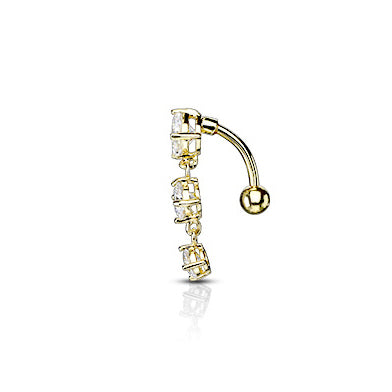 Frankie's Heart Fall Belly Bar in Gold - Reverse Top Down Belly Ring. Navel Rings Australia.