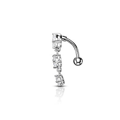 Reverse Top Down Belly Ring. Navel Rings Australia. Frankie's Heart Fall Belly Bar