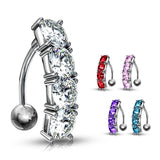 Gem Drop Reverse Belly Ring - Reverse Top Down Belly Ring. Navel Rings Australia.