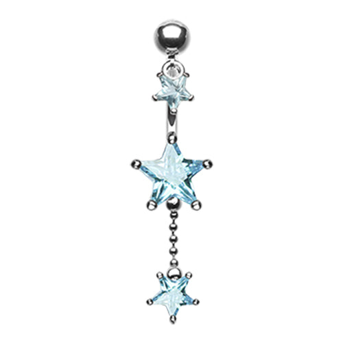 Reverse Top Down Belly Ring. Quality Belly Bars. Frosted Star Dangle Belly Piercing Ring