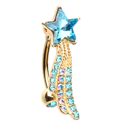 Reverse Top Down Belly Ring. Quality Belly Rings. Anastasia's Shooting Star Belly Ring