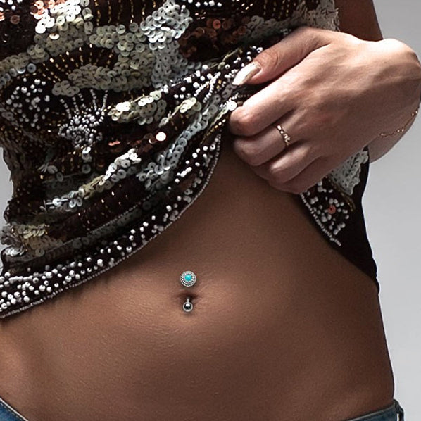 Reverse Top Down Belly Ring. High End Belly Rings. Petite Turquoise Reversible Belly Bar