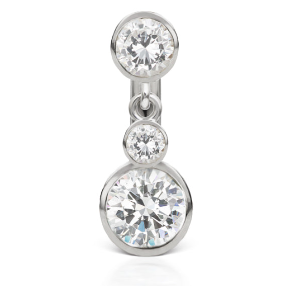 Genuine Maria Tash 14K White Gold Cup Solitaire Belly Bar with Top Dangle - Reverse Top Down Belly Ring. Navel Rings Australia.