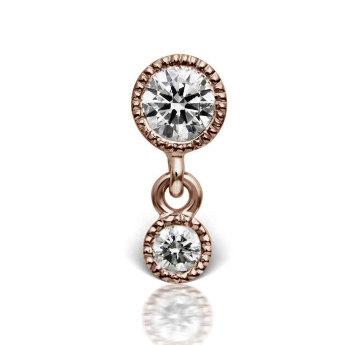 3mm-2mm Scalloped Diamond Threaded Stud Earring by Maria Tash in 14K Rose Gold. Flat Stud. - Earring. Navel Rings Australia.
