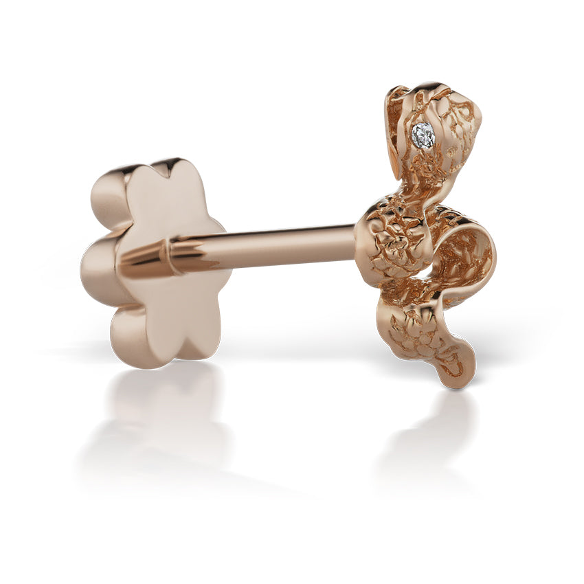 Earring. Quality Belly Bars. Engraved Snake Earring by Maria Tash in 18K Rose Gold. Flat Stud.