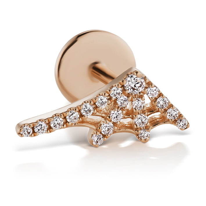 Authentic Diamond Web Earring by Maria Tash in 14K Rose Gold. Flat Stud. - Earring. Navel Rings Australia.