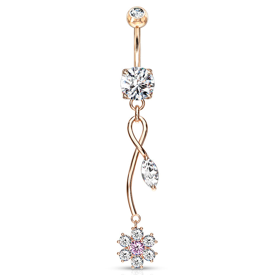 Winter Orchid Zenith Belly Ring in Rose Gold - Dangling Belly Ring. Navel Rings Australia.