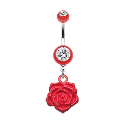 The Immortal Rose Belly Bar - Dangling Belly Ring. Navel Rings Australia.