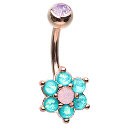 Astrid's Rose Gold Tantalising Bloom Belly Ring - Fixed (non-dangle) Belly Bar. Navel Rings Australia.