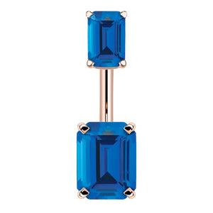 14K Rose Gold Emerald Cut Belly Rings - Basic Curved Barbell. Navel Rings Australia.