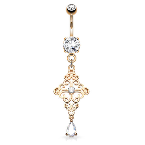 Dangling Belly Ring. Cute Belly Rings. Filigree Cross Belly Dangle in Rose Gold