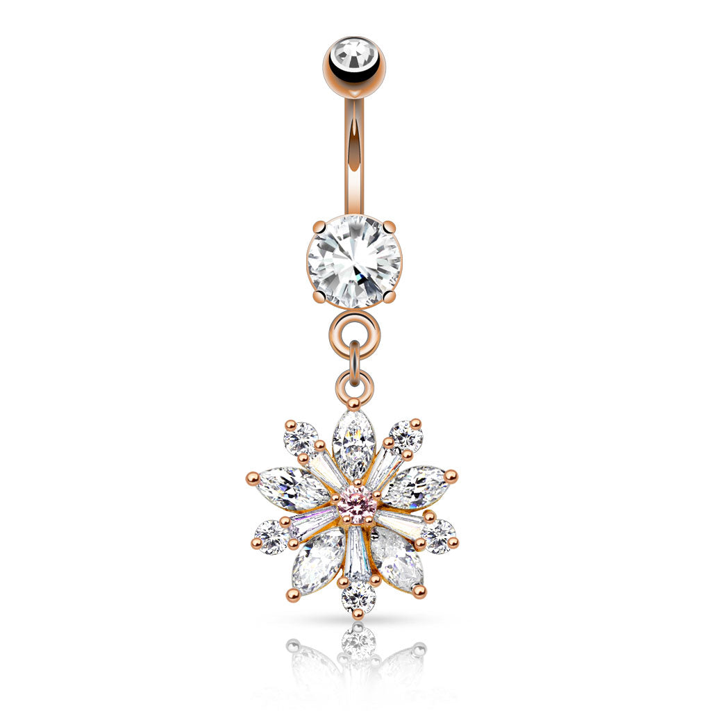 Isabella Bloom Belly Bar in Rose Gold - Dangling Belly Ring. Navel Rings Australia.