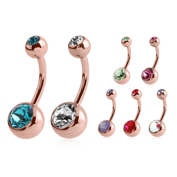 Classique Rose Gold Plated Gem Belly Bars - Basic Curved Barbell. Navel Rings Australia.