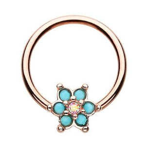 Rose Gold Turquosien Daisy Captive Belly Ring - Captive Belly Ring. Navel Rings Australia.