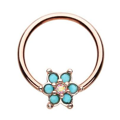 Captive Belly Ring. Cute Belly Rings. Rose Gold Turquosien Daisy Captive Belly Ring
