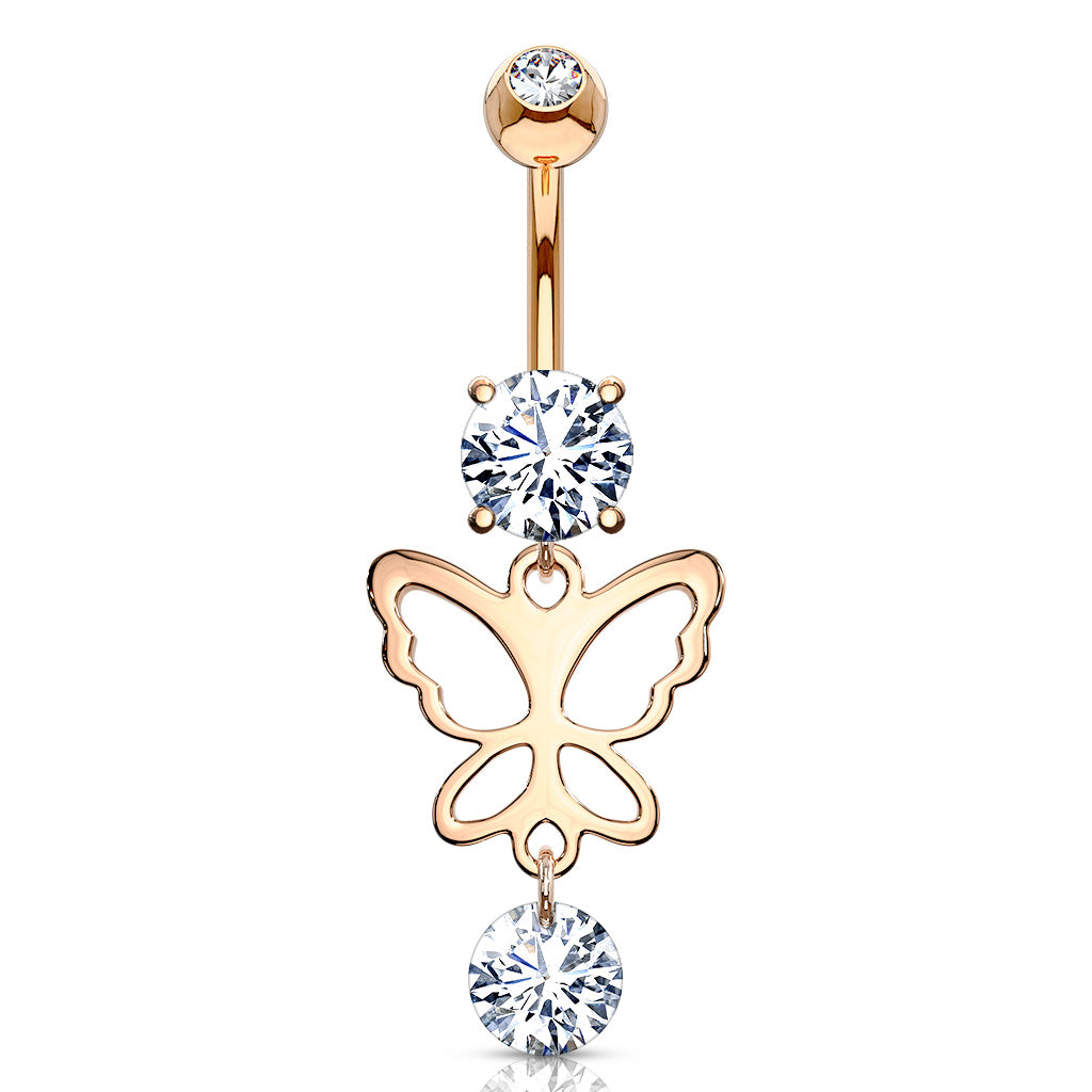 Karía Butterfly Belly Dangle in Rose Gold - Dangling Belly Ring. Navel Rings Australia.