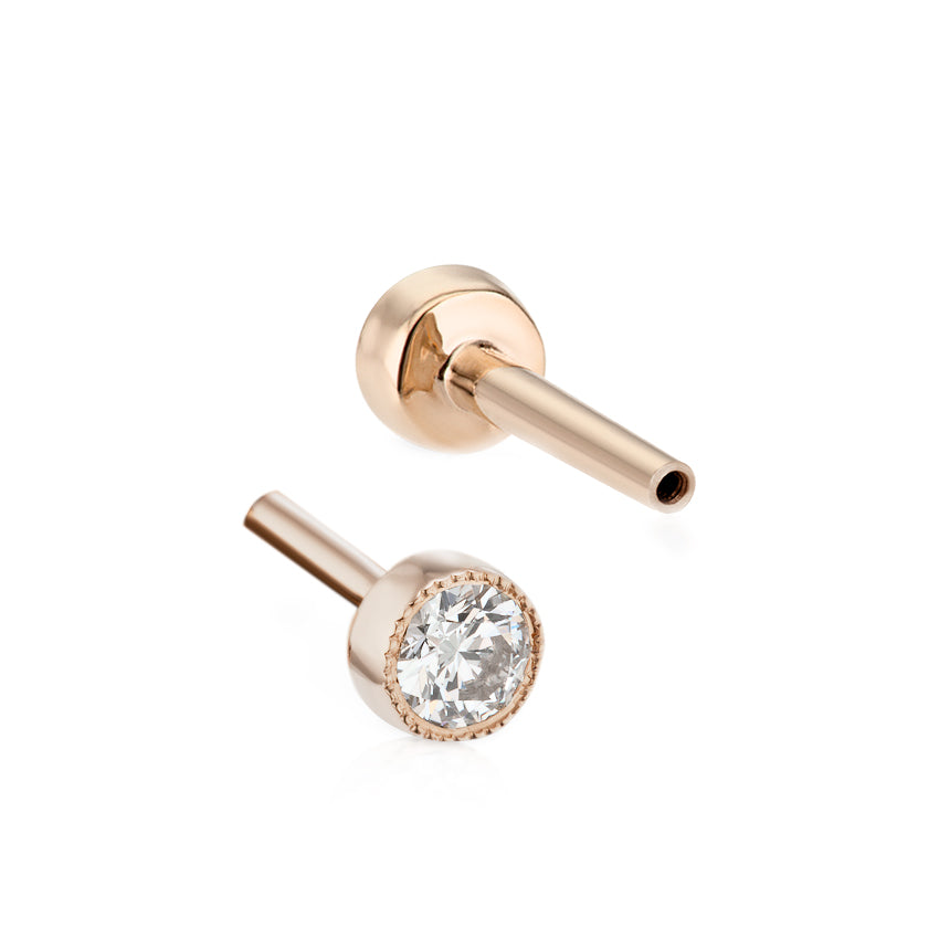 Threaded 2.5mm Diamond Backing in Rose Gold by Maria Tash - Earring. Navel Rings Australia.