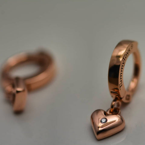 TummyToys® 14K Rose Gold Diamond Heart Belly Button Bar - TummyToys® Patented Clasp. Navel Rings Australia.