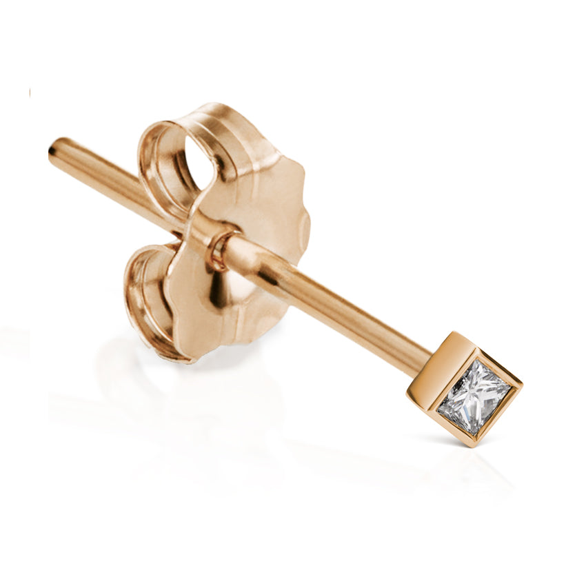 Princess Cut 2mm Diamond Earring by Maria Tash in 18K Rose Gold. Butterfly Stud. - Earring. Navel Rings Australia.