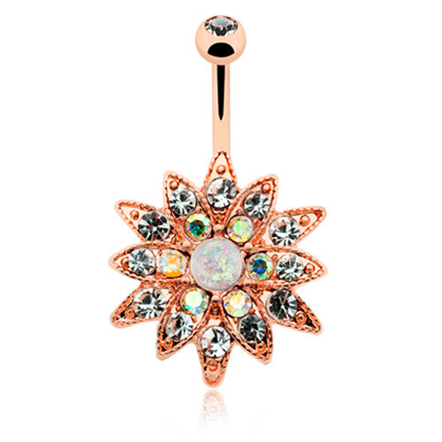 Rose Gold Opal Chrysanthemum Belly Bar - Fixed (non-dangle) Belly Bar. Navel Rings Australia.