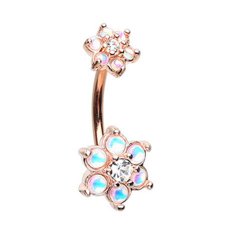 Retro Flower Burst Belly Bar in Rose Gold - Fixed (non-dangle) Belly Bar. Navel Rings Australia.