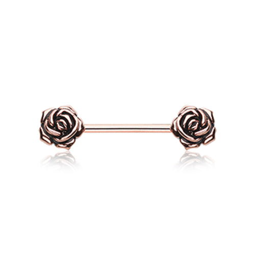 Rose Gold Vintage Flower Nipple Barbell Ring - Nipple Ring. Navel Rings Australia.