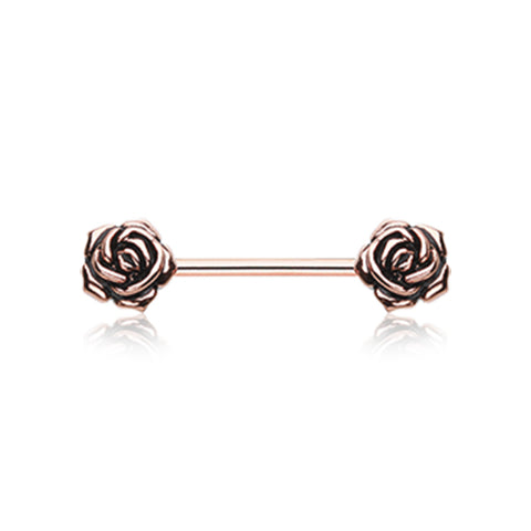 Nipple Ring. Shop Belly Rings. Rose Gold Vintage Flower Nipple Barbell Ring