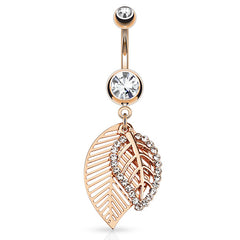 Feuille Leaf Belly Bar in Rose Gold