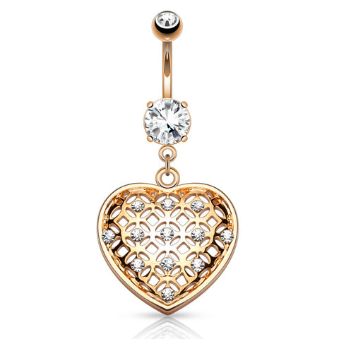 Dangling Belly Ring. Quality Belly Rings. Jewel of Seduction Heart Dangly in Rose Gold