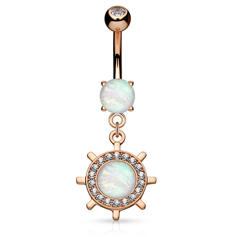 Kapal Opal Belly Bar in Rose Gold - Dangling Belly Ring. Navel Rings Australia.