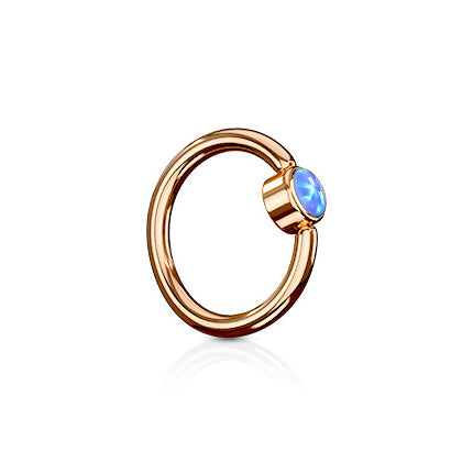 Indigo Blue FLAT Opal Captive Belly Rings in Rose Gold