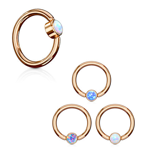 FLAT Opal Captive Belly Rings in Rose Gold - Captive Belly Ring. Navel Rings Australia.
