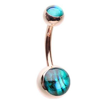 Ollie's Rose Gold Abalone Shell Belly Button Ring - Basic Curved Barbell. Navel Rings Australia.