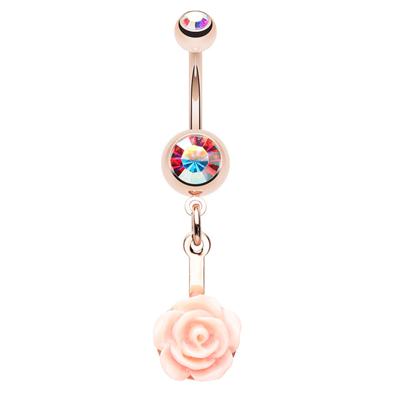Everythings Peachy Rose Belly Dangle - Dangling Belly Ring. Navel Rings Australia.
