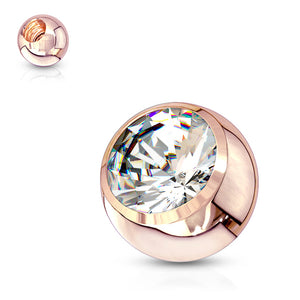 Rose Gold Plated 14g Gem Replacement Balls - Replacement Ball. Navel Rings Australia.
