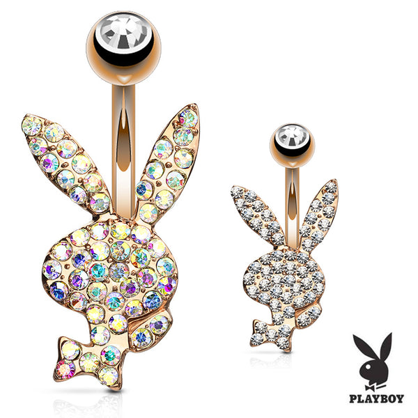 Official ©Playboy Motley Belly Rings in Rose Gold - Fixed (non-dangle) Belly Bar. Navel Rings Australia.