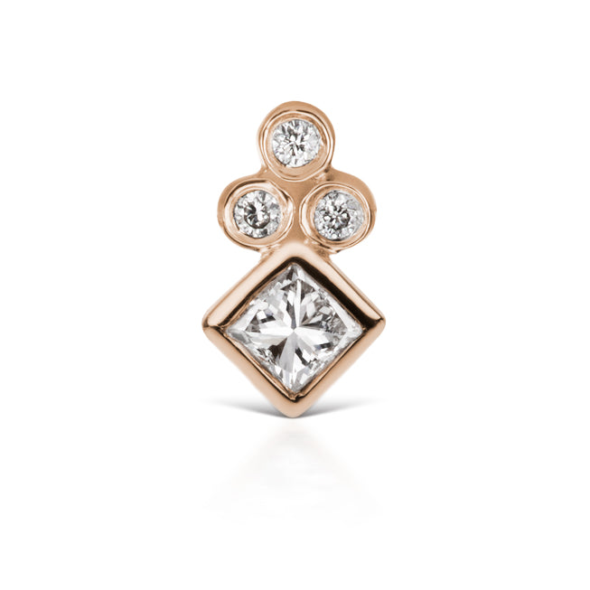 Princess Cut Four Diamond Trinity Earring by Maria Tash in 18K Rose Gold. Flat Stud. - Earring. Navel Rings Australia.