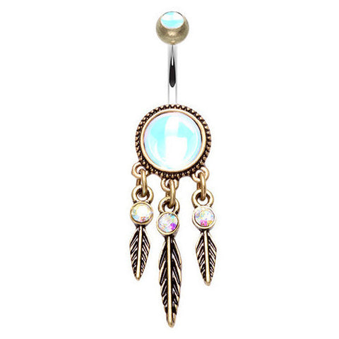 Dangling Belly Ring. High End Belly Rings. Golden Mystique Dream Catcher Belly Ring