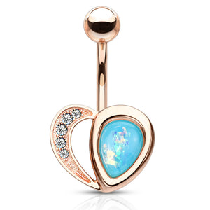 Aphrodite's Opal Heart Belly Bar in Rose Gold - Fixed (non-dangle) Belly Bar. Navel Rings Australia.