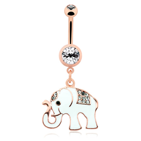Elephant Totem Belly Ring in Rose Gold - Dangling Belly Ring. Navel Rings Australia.